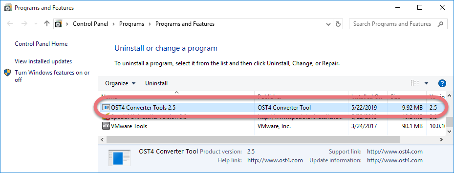 Remove OST4 Converter Tool in Windows.