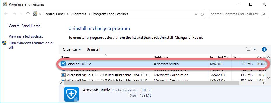 remove FoneLab in Windows.