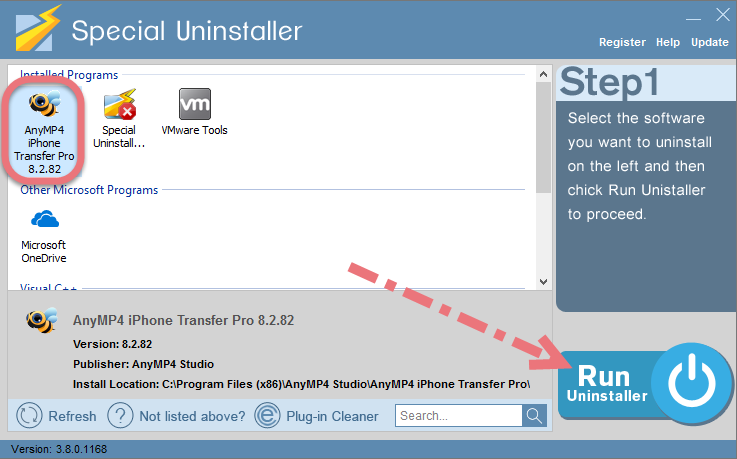 Remove AnyMP4 iPhone Transfer Pro using Special Uninstaller.