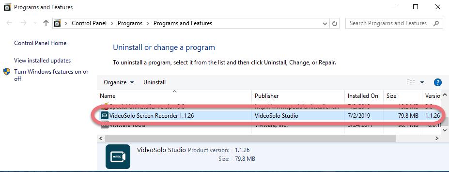 Remove VideoSolo Screen Recorder