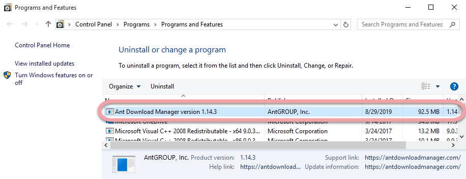 Remove Ant Download Manager in Windows.