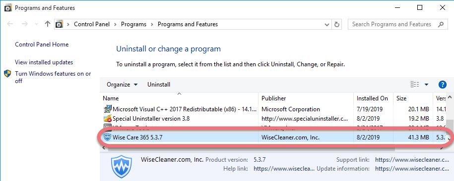 Remove Wise Care 365 in Windows.