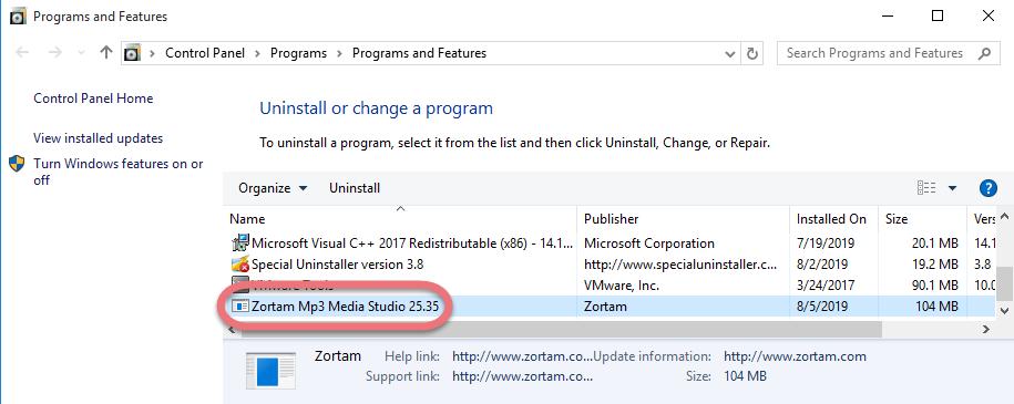 Remove Zortam Mp3 Media Studio in Windows