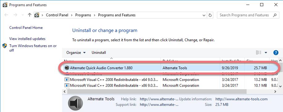Remove Alternate Quick Audio Converter
