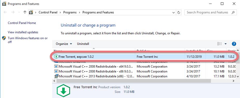 Uninstall Free Torrent in Windows