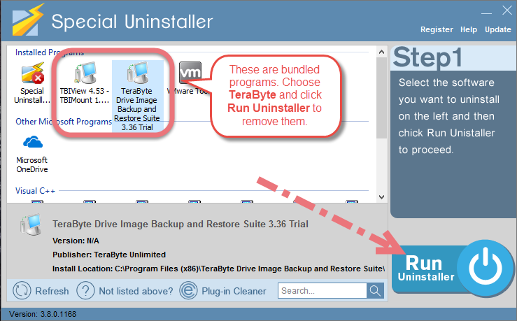 Remove TeraByte Drive Image Backup and Restore Suite using Special Uninstaller