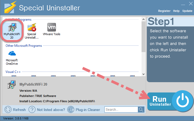 Uninstall MyPublicWiFi using Special Uninstaller