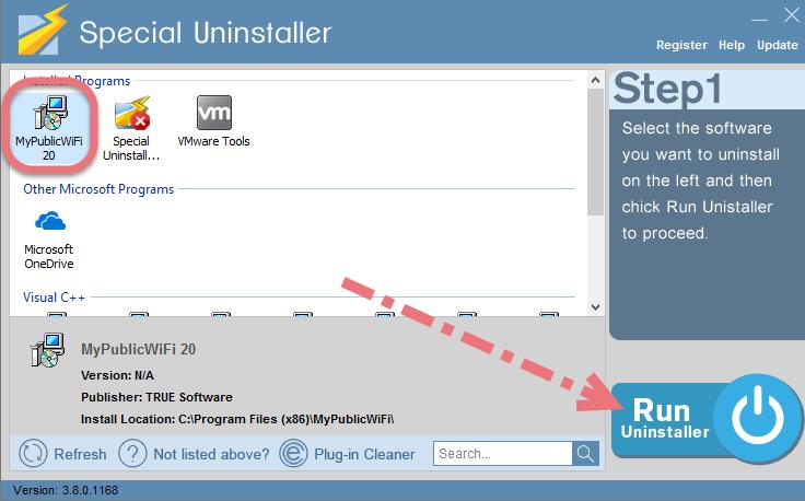 Uninstall MyPublicWiFi using Special Uninstaller