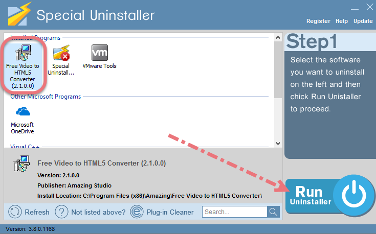 Remove Free Video to HTML5 Converter using Special Uninstaller