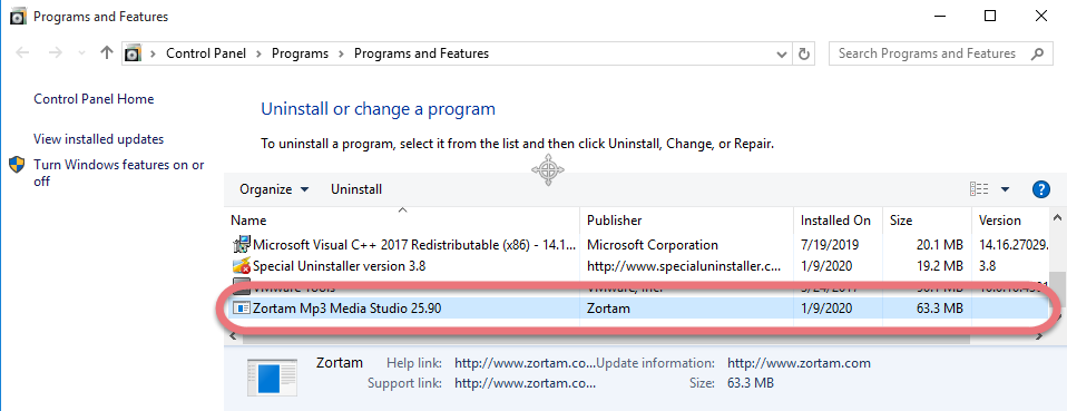 Remove Zortam Mp3 Media Studio